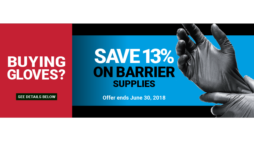 Save 13% off Surface Barrier Supplies when buying Gloves!