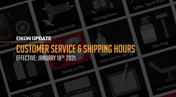 Eikon Update: Customer Service & Shipping Hours – Jan 2021